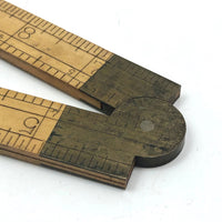 Old Stanley Boxwood and Brass 12 Inch Folding Ruler with Caliper