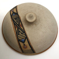 Lidded Pottery Cooking and Serving Dish With Banded Pattern