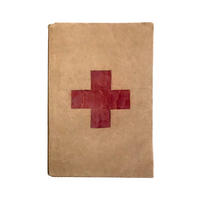 Red Cross First Aid Text-Book with Brown Paper Hand-drawn Cover