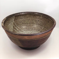 Huge Earthy Hand-thrown Stoneware Bowl Signed Davis