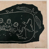 Alice Nanogak Canadian Inuit Framed Hand-printed Stonecut of Ice Fishing Scene