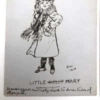 Two Portraits of Mary -- Pair of 1910 Hand-drawn Pen and Ink Postcards