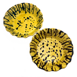 Old Yellow Splatterware Scalloped Edge Bowls / Baking Dishes - A Pair