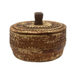 Scandanavian Large Lidded Sami Birch Bark Box with Carved Topple