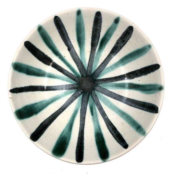 Mid-Century Studio Pottery Bowl with Radial Design, Presumed Frank Mann