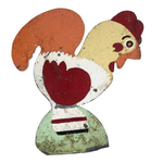 Hand-painted Corrugated Steel Cutout Rooster #1
