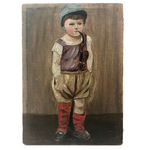 Little Boy Smoking Pipe, Small Antique Oil on Canvas Painting