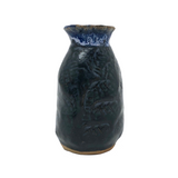 Great Little Hand-formed, Pressed Pattern Blue Pottery Bud Vase