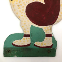 Hand-painted Corrugated Steel Cutout Rooster #2