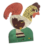Hand-painted Corrugated Steel Cutout Rooster #3