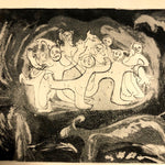 Renate Scheer Kalkofen Large Mid-Century Etching with Dancing Figures