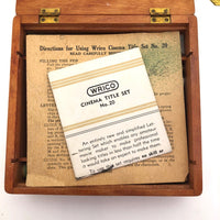 "Wrico Complete ""Cinema Title"" Lettering Set No. 20 in Original Dovetail Wooden Box"