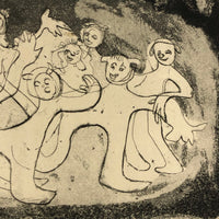 Renate Scheer Kalkofen Mid-Century Etching with Dancing Figures