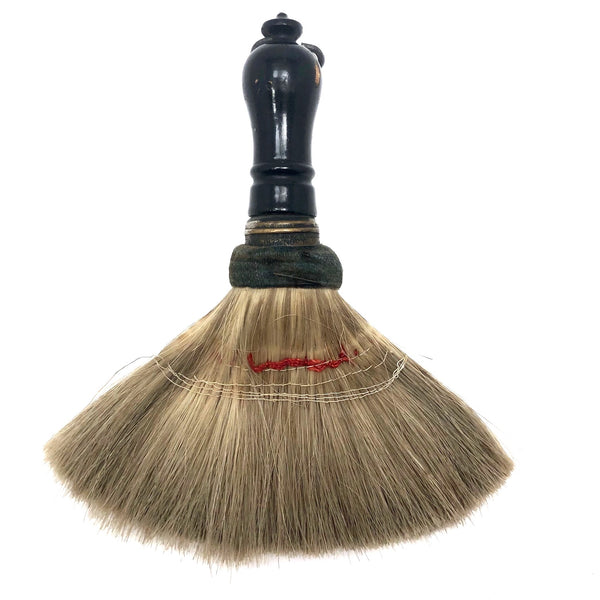 Engraved 1880s Pale Horsehair Ladies Brush with Turned Black Painted Handle