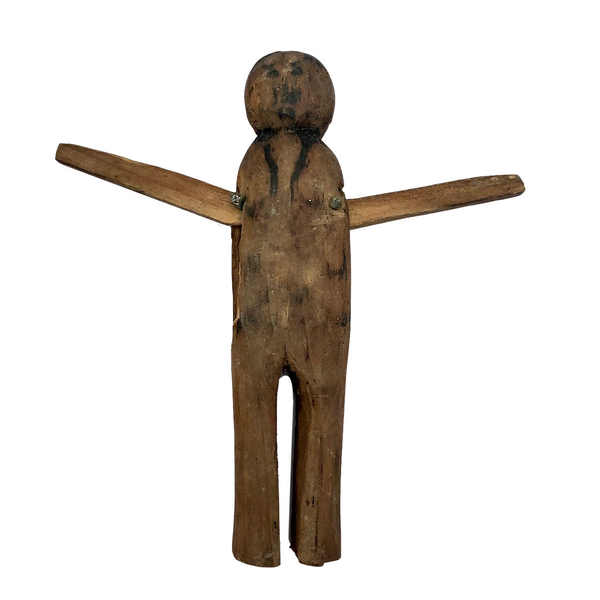 Charming Old Wooden Clothespin Figure with Moving Arms