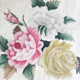 Three Peony Lovely Antique American Theorem Watercolor, Framed