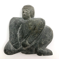 Inuit Soapstone Sculpture of Crouched Figure , Signed and Numbered