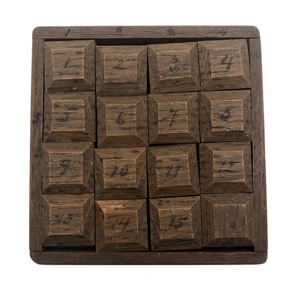 Antique Handmade Wooden Fifteen Puzzle Game