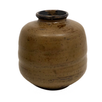Hand-thrown Pottery Weed Vase with Honey Brown Glaze