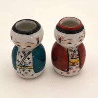 Japanese Hand-painted Pair of Little Boy and Girl Vases or Ink Wells
