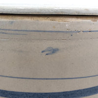 Lidded Old White and Blue Striped Stoneware Crock