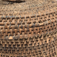 Antique Finely Handwoven Lidded and Lined Grass Sewing Basket