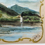 British Hand-painted Lake Landscape Postcard with Gold Painted Frame, c. 1910