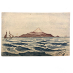 Hand-painted Antique Watercolor Postcard: Seascape with Mountain and Ships