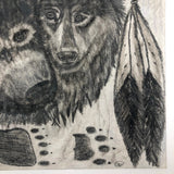 Wolf, Bear, Raven and Dreamcatcher Vintage Graphite Drawing, with Glitter!