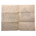 1887 (Slightly Passive Aggressive) Letter from Ailing Grandmother, with House Drawing
