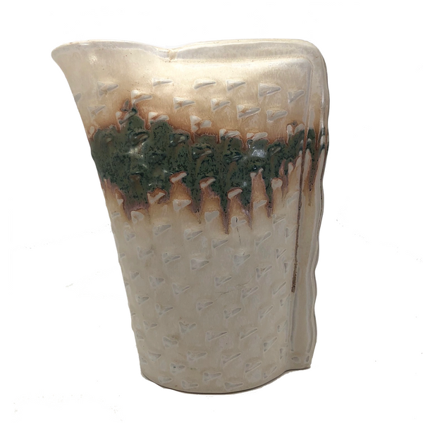 San Pacific San Francisco 1970s-80s Pastel Ceramic Vase With Corner Opening