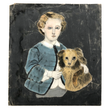"Boy with Dog 19th Century Folk Art ""Sandpaper"" Painting"