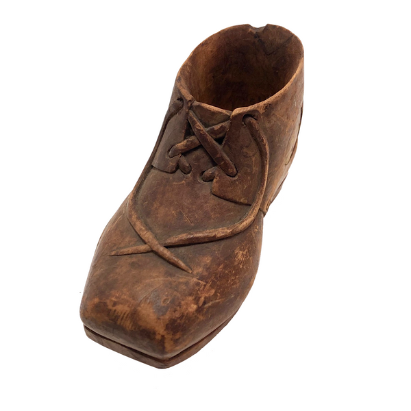 Carved Wooden Low Boot with Carved Laces