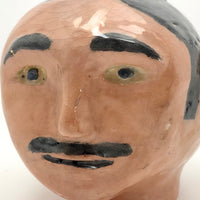 Ceramic Head, Man with Mustache and Pink Hat, by Bruce C, 1962