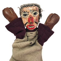 Handmade Hand Puppet with Painted Wood Face