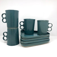 Early Bennington Potters Turquoise Glazed Snack Plate & Mug Set, Signed David Gil