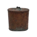 Antique Copper Matchsafe with Chained Lid, Perfect Patina