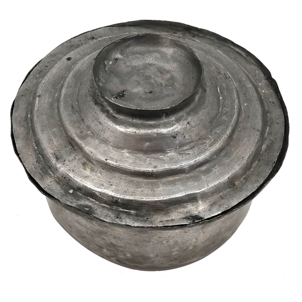 Hand-Hammered Lidded Round Tin Cooking and Serving Dish