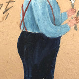 "Antique Folk Art Painting on Cardboard of Boy's ""First Attempt"" at Shaving"