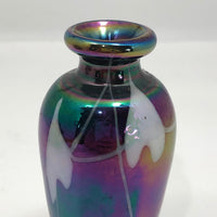 "Hand-blown Iridescent ""Hearts and Vines"" Art Glass Vessel"