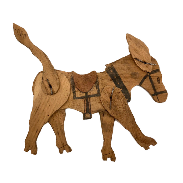 Handmade, Jointed Wooden Donkey with Hand-drawn Details