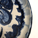 Slab-Formed Cream and Blue Glazed Signed Pottery Platter or Tray