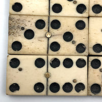 Beautiful Antique Bone and Ebony Dominoes, Complete Set with Brass Spinners