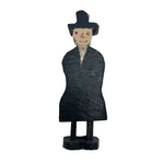 Naughty Old Carved Folk Art Man in Black Coat and Hat