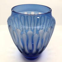 Mid-Century Etched Blue Glass Vase