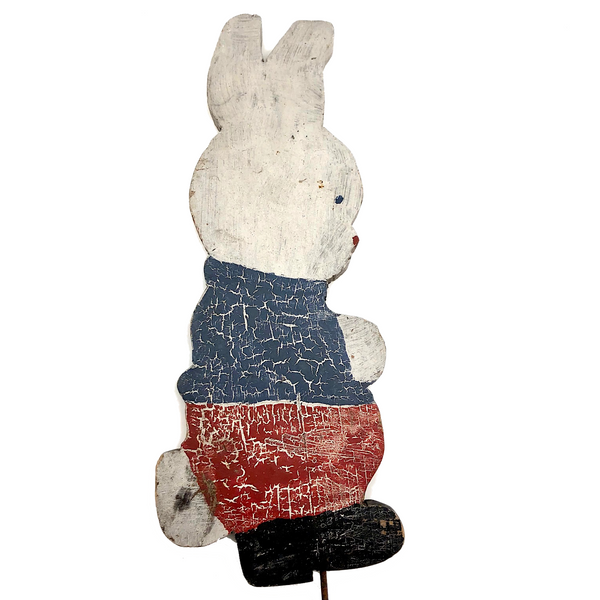 Old Red White and Blue Painted Wooden Bunny on Post