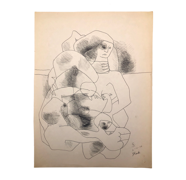 "James Bone, ""Stuck,"" Ink Drawing, 1970"