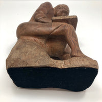 Marvelous Folk Art Carved Sculpture of Seated Woman with Book, 9 1/2 Inches