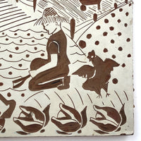 Lino Print Block with Farm Scene Signed Eileen Ryan