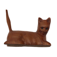 Fabulous Little Carved Folk Art Cat, Signed